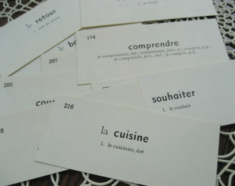25 French Vintage Vocabulary Cards - Educational Flash Cards