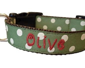 Olive Green Monogrammed Dog Collar