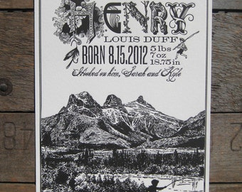 Fishing in the Mountains Custom Design Letterpress Birth Announcement