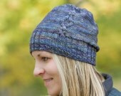 KNITTING PATTERN PDF file bundle for cabled slouchy hat and Buttoned hat for baby to adult sizes