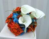 Wedding cake topper white calla lily orange kalanchoe turquoise