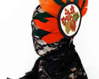 Ready to Ship Miyu Decay OOAK Tribal Indian Vintage Kimono Fabric Headband-Feathers
