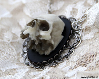 Skull Cameo necklace Victorian Gothic Baroque 3D skeleton cameo, zombie steampunk jewelry wedding, walking dead Day of the Dead, Frida Kahlo