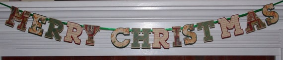 EADY TO SHIP Merry Christmas Banner Letter Banner Christmas Card Photo Prop Vintage Red Green Ivory Santa Bells Tartan