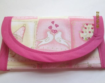 Wedding Brides 6 x 3 Gift Wallet money clip, Clutch Envelope Pouch coin Purse Flowergirl 3 x 3 Handbag accessory Doves Hearts Rings Pink