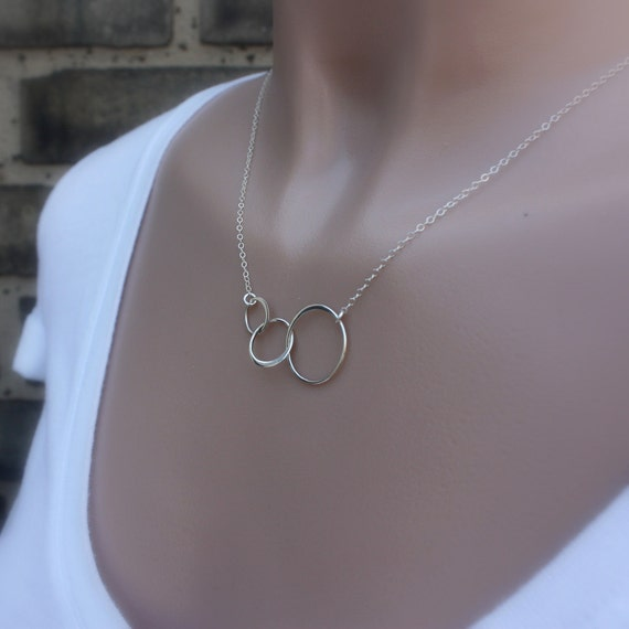 Triple Link Necklace - Linked Circles Pendant. Yoga Jewelry. Bronze, Sterling Silver & 24k Gold Dipped Vermeil. Mother's Day Gift Ideas