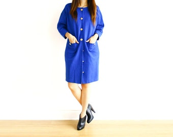 Vintage Retro Fair Lady Royal Blue Button Down Jacket / Dress