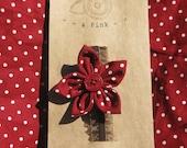 S a L e - Baby Girl Headband, Red Polka Dot Flower Elastic Headband - Infant, Girl, Toddler