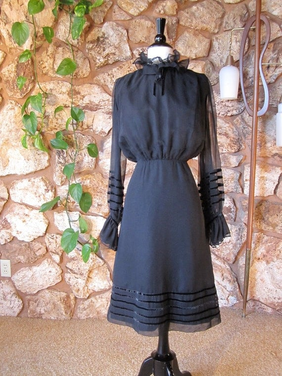 1960s Black Dress 60s Does Victorian Era High By