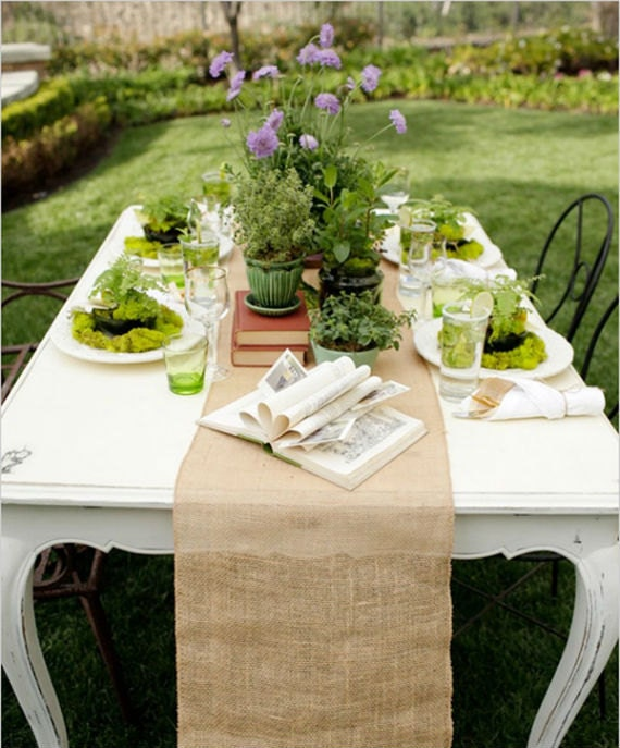 """Shabby Chic Wedding Table Decorations: 6 Burlap Table Runners 12"""" X 60"""