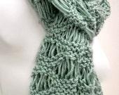 Lacy Knit Scarf - Hand Knit Scarf in Grayed Jade - by Stitchknit