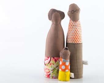 Family - African Couple and child, Mother ,father,boy ,in shades of orange - Floral Polka and Dots , custom & personalized dolls are welcom