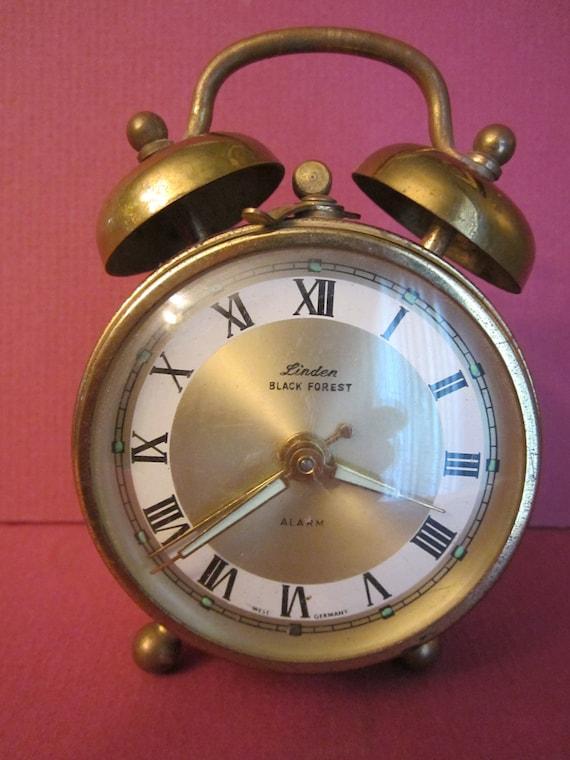 Linden Black Forest Brass Alarm Clock With Glow In The Dark