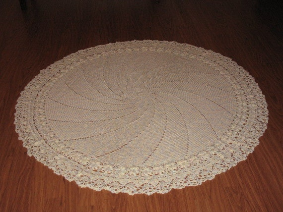 Hand Made Crochet Soft  Pastel Variegated Round Baby Afghan/ blanket