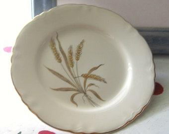PLATES VINTAGE WHEAT Pattern Porcelain Gold Dessert Salad