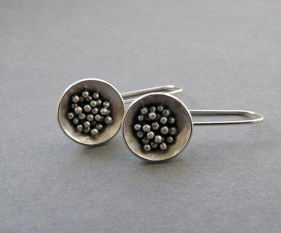 Sterling silver drop earrings. Silver granulated earrings. Silver earrings. Silver jewellery. Handmade