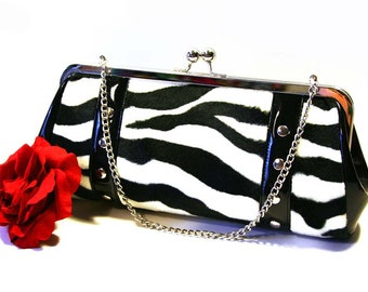 Zebra Rockabilly Clutch with Your Choice of Vinyl Trim - MADE TO ORDER