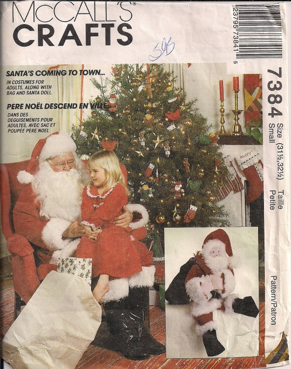 "1994 Sewing Pattern SANTA Christmas Costume with Sack and Doll - size small - bust or chest 34 to 36"" (87 to 92 cm) McCall's 7384"