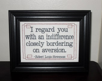 """Snarky office must-have, embroidered funny quote """"Indifference""""  framed cross stitch embroidery 5x7""""- adjustable in color funny sign"""