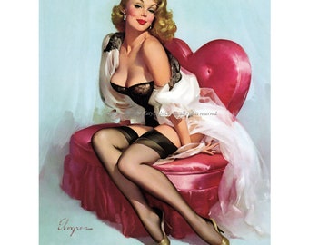 Elvgren Pinup Girl in Black Lace Bustiere Print