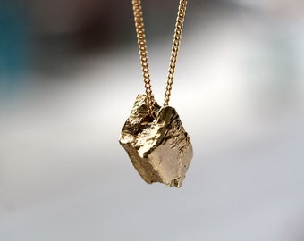 natural brass nugget pendant necklace