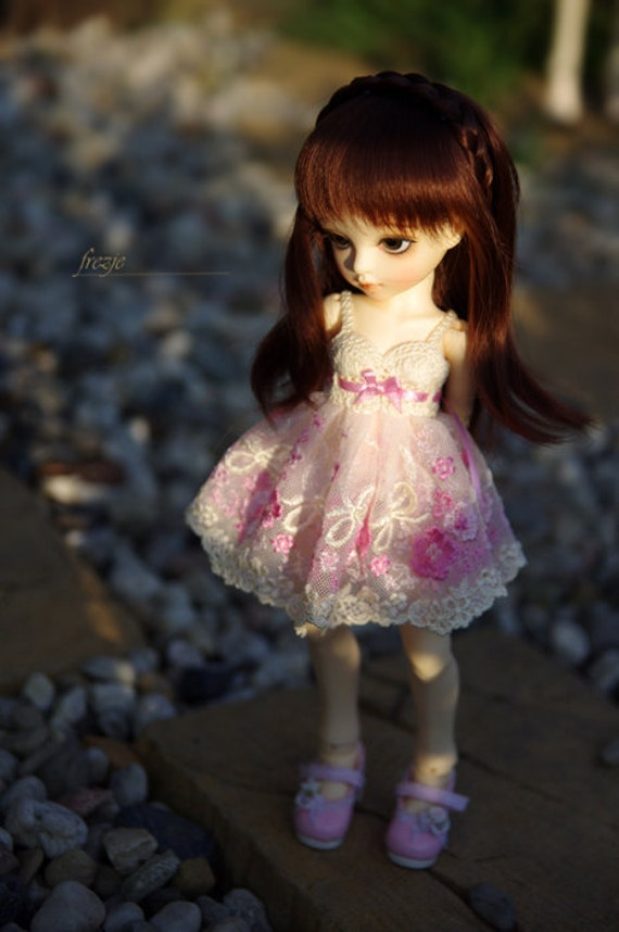 LAST ONE Cream & pink dress for TINY bjd LittleFee