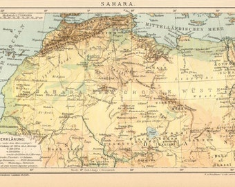 "1895 Antique Map of the Sahara ""The Great Desert"""