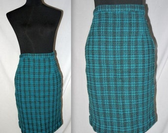 Teal taunt ..... Vintage 50s pencil skirt / 1950s plaid wool / high waist waisted / rockabilly mad men office wear ... XS S waist 24