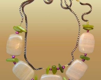 Rose Pink Aventurine  Gems  Green Jade And Pearls Link Chain Fashion Necklace xLarge