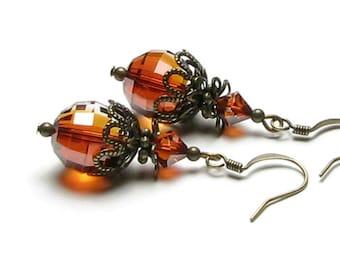 Red Magma Swarovski Crystal Antique Brass Vintage Style Dangle Earrings Boho Artisan Round Fiery Rust Drop Autumn Fashion Jewelry for Women