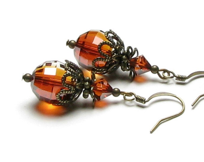 Red Magma Swarovski Crystal Antique Brass Vintage Style Dangle Earrings Boho Artisan Round Fiery Rust Drop Autumn Fashion Jewelry for Women