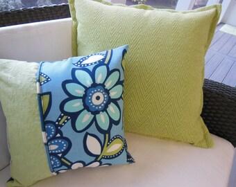 Blue Pillow - Large Flower Pillow - Kiwi Green Pillow - Designer Pillow - Reversible Pillow - 15 x 15 Inch Pillow - Pillow Insert Included