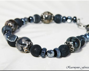 Dragon Agate Gemstone Bracelet, Black Dragon Scale, Dragon Vein Agate, Hematite, black lentil, Czech beads