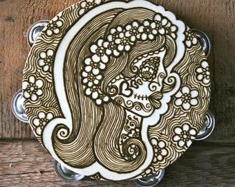 Henna Dia De Los Muertos, Day of the Dead Gypsy, Girl Skull, Calaveras, Skull tambourine