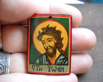 Miniature icon of Saint John the Baptist, St. John of God, Patron Saint of Those with Heart Disease, Heart Attacks, Holy Amulet