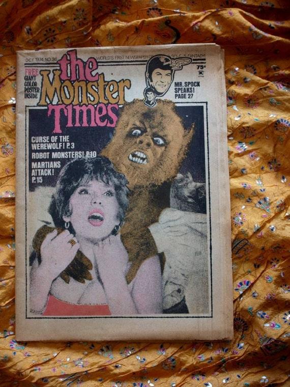Monster Times 1974 No 36 Werewolf Robot Martians Spock Star Trek Mr Mutation Super Heroines