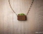Grass Necklace Grass Pendant Wood Necklace Grass Jewelry  001