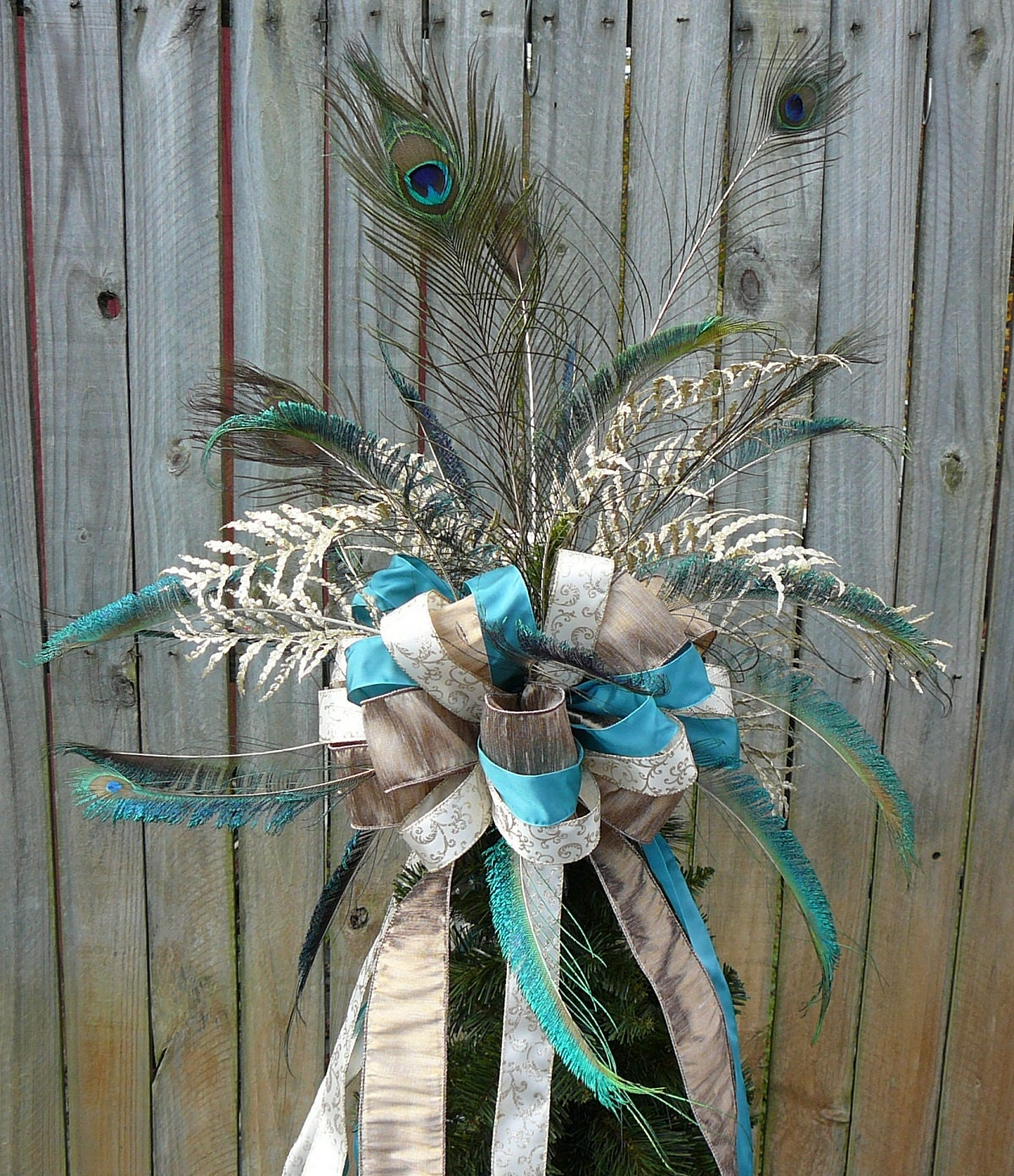 Christmas Tree Topper Peacock Feather Bow Platinum Teal
