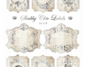 SHABBY CHIC LABELS - Gift Tags - Ephemera - Hang Tags - Digital Collage Sheet