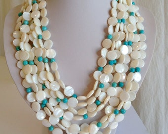 Luminous White Shell and Turquoise Multi Strand Necklace Mother of Pearl White Bead Statement Necklace