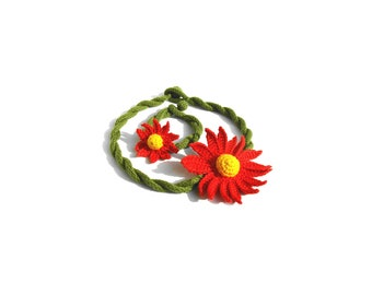 Crochet Flower Choker Necklace and Bracelet set Gerbera Design
