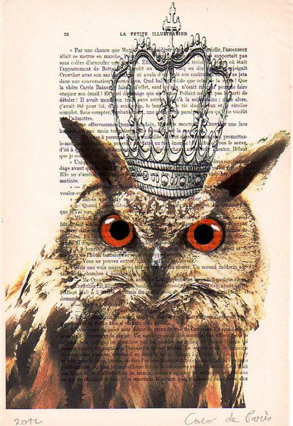 Owl with crown - Original Illustration-Art Print-Art Poster-Hand Painting Mixed Media-Kids wall art-kids art decor-Forest