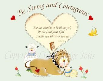 Christian Baby Nursery Art Print Scripture Art by Linda Paige Tolis Lion and Lamb