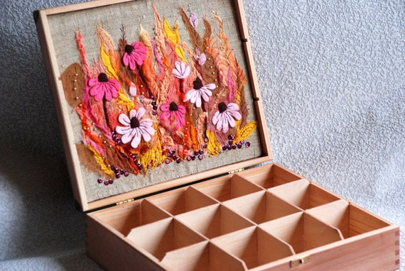 Wooden tea box with pink flower meadow embroidery.Textile art.
