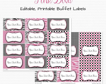 Pink Diva Candy Buffet Labels, Place Cards, Hot Pink and Black, Zebra Stripe, Houndstooth, Dots -- Editable, Printable, Instant Download