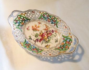 Antique Porcelain Biscuit Basket  - Carl Schumann, Bavaria  -  Floral, Reticulated  - Victorian, Edwardian