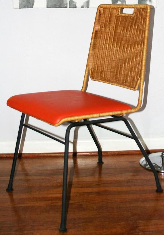 Retro Vintage 1950s Mid Century Modern DANNY HO FONG Wicker Iron Indoor & Outdoor Chair
