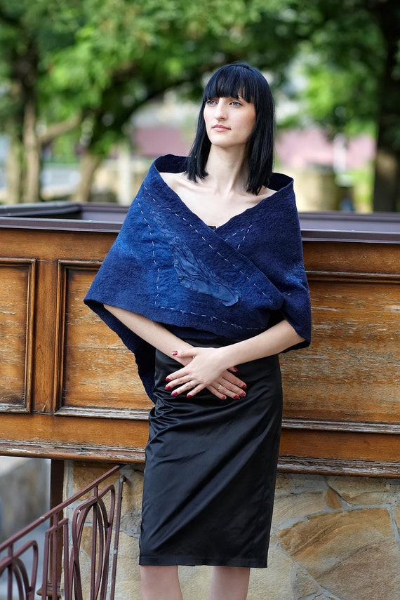 Elegant dark blue felted shawl wrap capelet Triangles or Waves of the sea Ready to ship