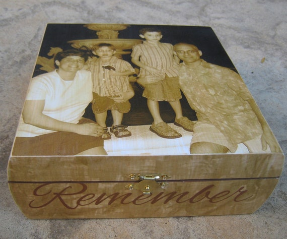 Memorial Keepsake Box, Unique Custom Photo Memory Box, Personalized Photo Gift, In Memory Of, Unique Mother's Day Gift, Father's Day Gift