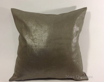 16x16 TO 20x20 Metallic Linen Decorative Pillow Cover - Medium Weight Linen- Invisible Zipper Closure